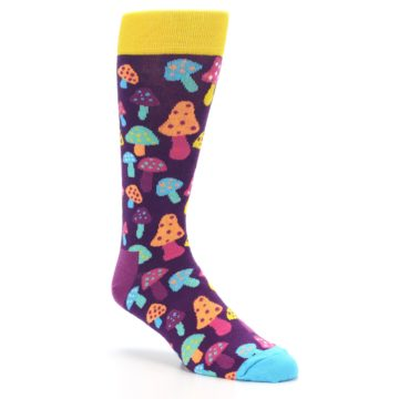 Image of Purple Multi Mushrooms Men's Dress Socks (side-1-27)