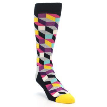 Image of Black Grey Multi Optical Men's Dress Socks (side-1-front-02)
