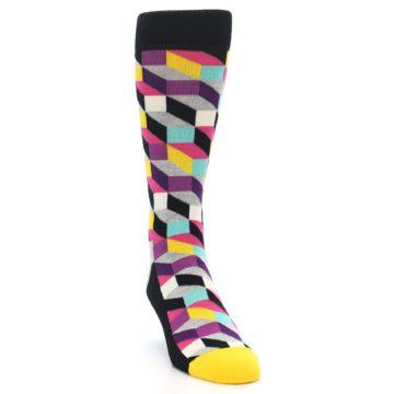 Image of Black Grey Multi Optical Men's Dress Socks (side-1-front-03)