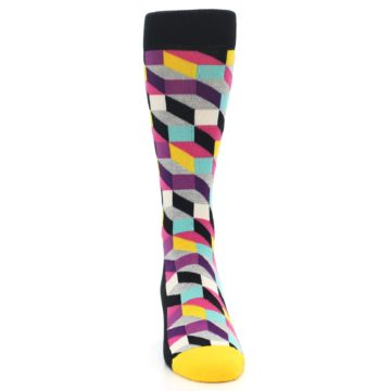 Image of Black Grey Multi Optical Men's Dress Socks (front-04)