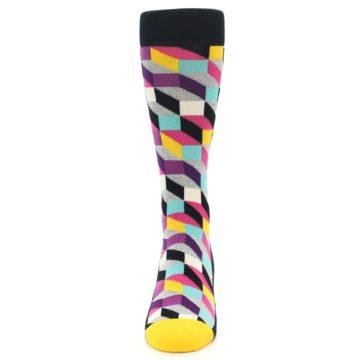 Image of Black Grey Multi Optical Men's Dress Socks (front-05)