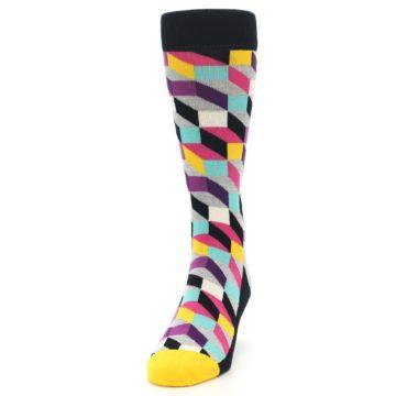 Image of Black Grey Multi Optical Men's Dress Socks (side-2-front-06)