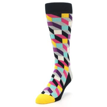 Image of Black Grey Multi Optical Men's Dress Socks (side-2-front-07)