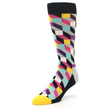 Image of Black Grey Multi Optical Men's Dress Socks (side-2-front-08)