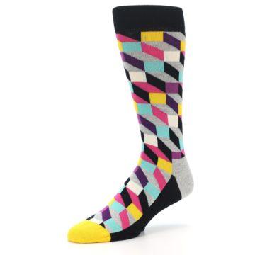 Image of Black Grey Multi Optical Men's Dress Socks (side-2-09)