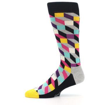 Image of Black Grey Multi Optical Men's Dress Socks (side-2-11)
