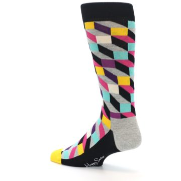 Image of Black Grey Multi Optical Men's Dress Socks (side-2-back-14)