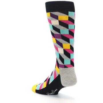 Image of Black Grey Multi Optical Men's Dress Socks (side-2-back-15)