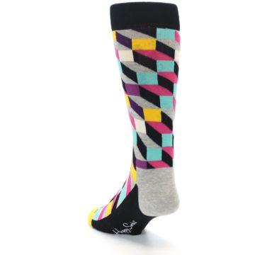 Image of Black Grey Multi Optical Men's Dress Socks (side-2-back-16)