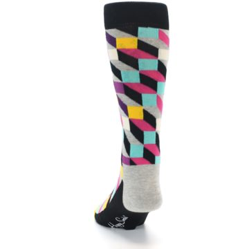 Image of Black Grey Multi Optical Men's Dress Socks (back-17)