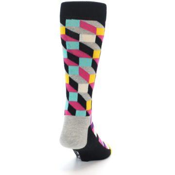 Image of Black Grey Multi Optical Men's Dress Socks (side-1-back-20)