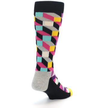 Image of Black Grey Multi Optical Men's Dress Socks (side-1-back-21)