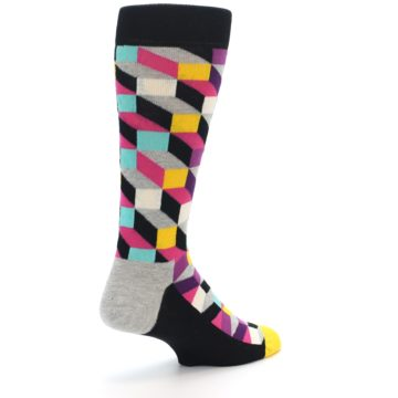 Image of Black Grey Multi Optical Men's Dress Socks (side-1-back-22)