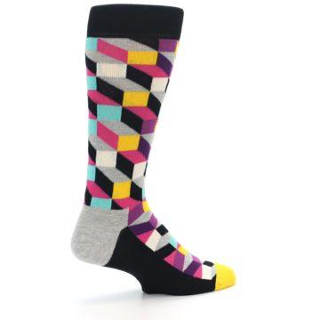 Image of Black Grey Multi Optical Men's Dress Socks (side-1-23)
