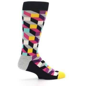 Image of Black Grey Multi Optical Men's Dress Socks (side-1-24)