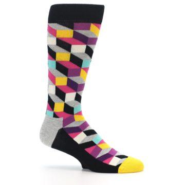 Image of Black Grey Multi Optical Men's Dress Socks (side-1-25)