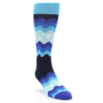Image of Blues Wave Stripe Men's Dress Socks (side-1-front-02)