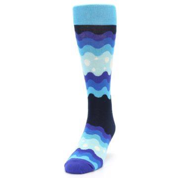 Image of Blues Wave Stripe Men's Dress Socks (side-2-front-06)