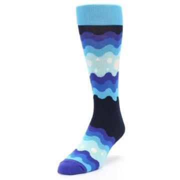 Image of Blues Wave Stripe Men's Dress Socks (side-2-front-07)