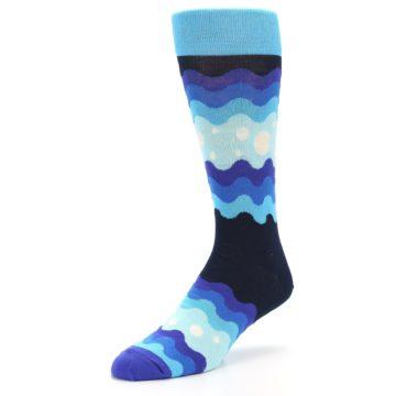 Image of Blues Wave Stripe Men's Dress Socks (side-2-front-08)