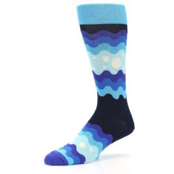 Image of Blues Wave Stripe Men's Dress Socks (side-2-09)