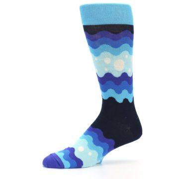 Image of Blues Wave Stripe Men's Dress Socks (side-2-10)