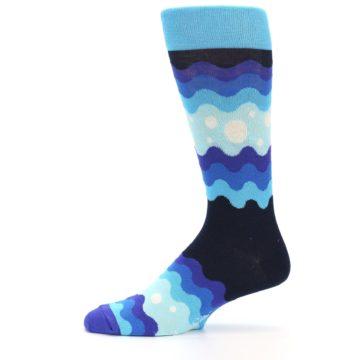 Image of Blues Wave Stripe Men's Dress Socks (side-2-11)