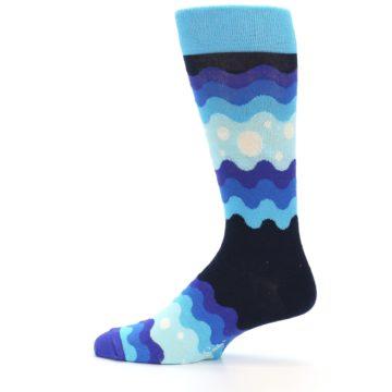 Image of Blues Wave Stripe Men's Dress Socks (side-2-12)
