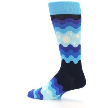 Image of Blues Wave Stripe Men's Dress Socks (side-2-13)