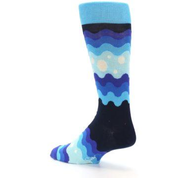 Image of Blues Wave Stripe Men's Dress Socks (side-2-back-14)