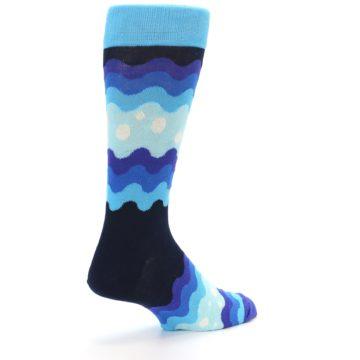Image of Blues Wave Stripe Men's Dress Socks (side-1-back-22)