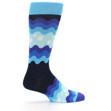 Image of Blues Wave Stripe Men's Dress Socks (side-1-24)