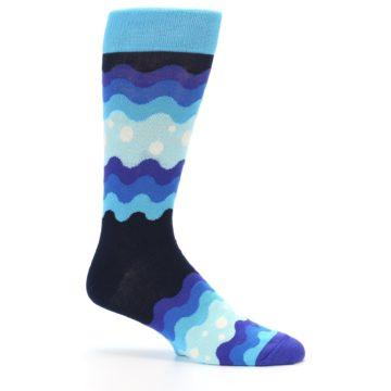 Image of Blues Wave Stripe Men's Dress Socks (side-1-25)