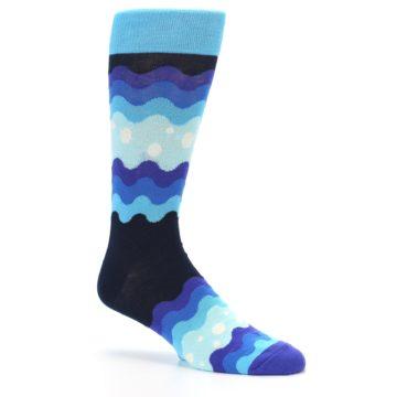 Image of Blues Wave Stripe Men's Dress Socks (side-1-26)