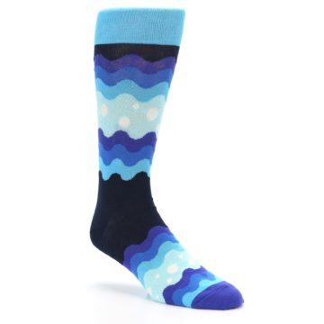 Image of Blues Wave Stripe Men's Dress Socks (side-1-27)