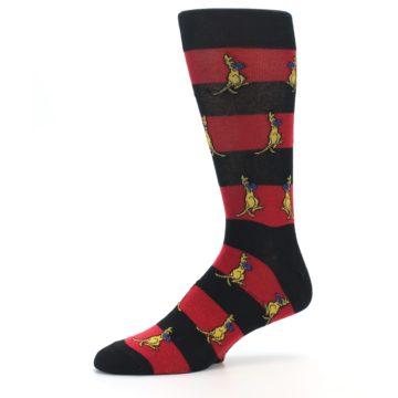 Image of Red Black Boxing Kangroo Men's Dress Socks (side-2-10)