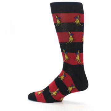 Image of Red Black Boxing Kangroo Men's Dress Socks (side-2-13)