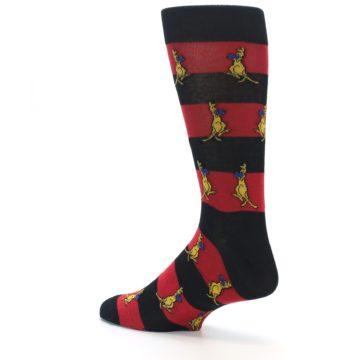 Image of Red Black Boxing Kangroo Men's Dress Socks (side-2-back-14)