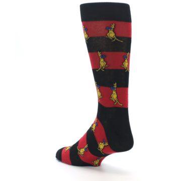 Image of Red Black Boxing Kangroo Men's Dress Socks (side-2-back-15)