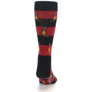 Image of Red Black Boxing Kangroo Men's Dress Socks (back-19)
