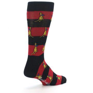 Image of Red Black Boxing Kangroo Men's Dress Socks (side-1-back-22)