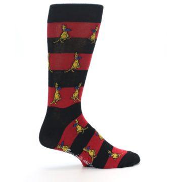 Image of Red Black Boxing Kangroo Men's Dress Socks (side-1-24)