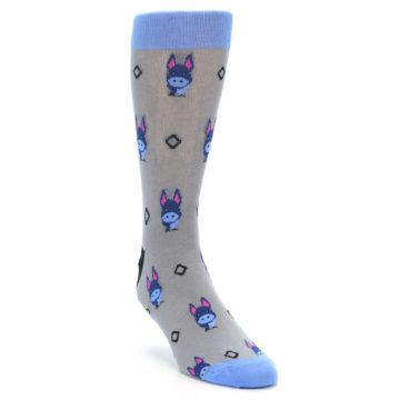 Image of Grey Blue Donkey Men's Dress Socks (side-1-front-02)