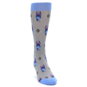 Image of Grey Blue Donkey Men's Dress Socks (side-1-front-03)