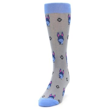 Image of Grey Blue Donkey Men's Dress Socks (side-2-front-06)
