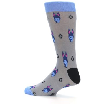 Image of Grey Blue Donkey Men's Dress Socks (side-2-13)