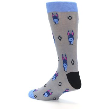 Image of Grey Blue Donkey Men's Dress Socks (side-2-back-14)