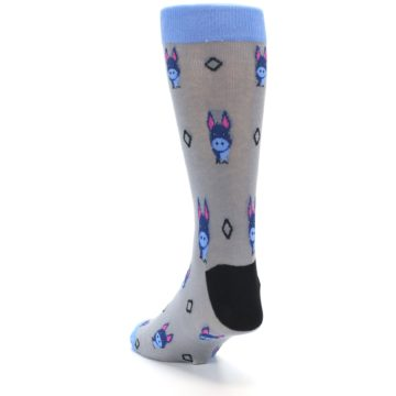 Image of Grey Blue Donkey Men's Dress Socks (side-2-back-16)