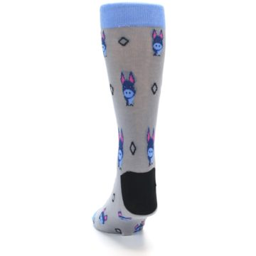 Image of Grey Blue Donkey Men's Dress Socks (back-17)