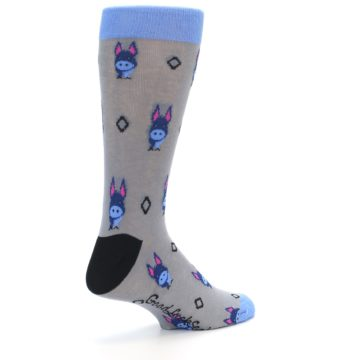 Image of Grey Blue Donkey Men's Dress Socks (side-1-back-22)